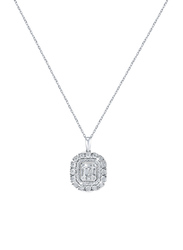 Liali Jewellery Emerald Cut Halo 18K White Gold Necklace for Women with 0.33ct Diamond Stone Pendant, White