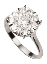 Liali Jewellery Mirage Classic 18K White Gold Engagement Ring for Women with 9 Diamond, 7.5 Carat Look, Silver, US 7