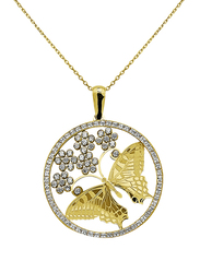 Liali Jewellery Regalo 18K Yellow Gold Necklace for Women with Zircon Stone Butterfly Pendant with Flowers, Yellow