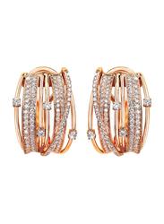 Liali Jewellery Midnight 18K Rose Gold Hoop Earrings for Women with 214 Diamond, Rose Gold