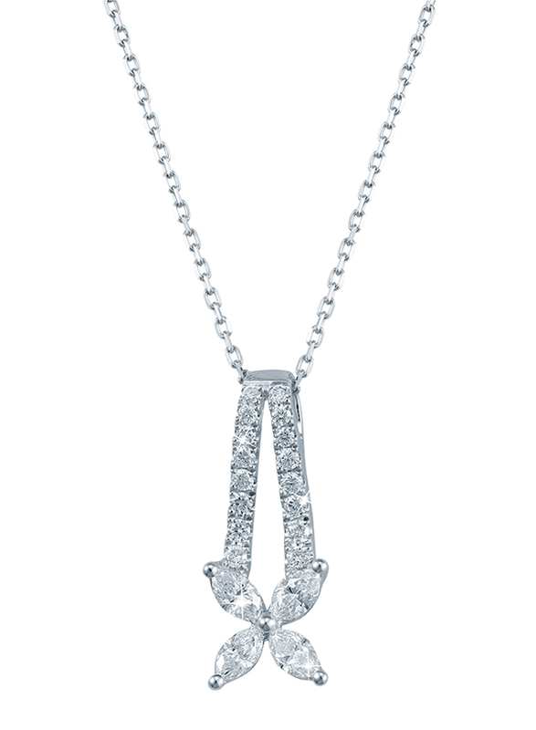 Liali Jewellery Red Carpet 18K White Gold Necklace for Women with 0.51ct Diamond Stone Pendant, White