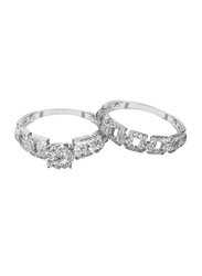 Liali Jewellery Love Band 18K White Gold Couple Ring with 124 Diamond, Silver, US 7