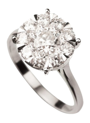 Liali Jewellery Mirage Classic 18K White Gold Engagement Ring for Women with 9 Diamond, 3 Carat Look, Silver, US 7