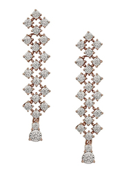 Liali Jewellery Joie de Vivre 18K Rose Gold Drop & Dangle Earrings for Women with 42 Diamond, Rose Gold