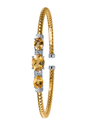 Liali Jewellery Tessitore 18K Yellow/White Gold Bangle for Women with 0.17ct Diamond and 3.07ct Citrine Stone, Yellow