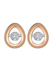 Liali Jewellery 18K Rose Gold Drop Shape Stud Earrings for Women with 0.07ct Dancing Diamond Stone, Rose Gold
