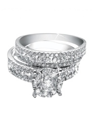 Liali Jewellery Love Band 18K White Gold Couple Ring with 108 Diamond, Silver, US 7
