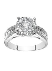 Liali Jewellery Mirage Taper Band 18K White Gold Engagement Ring for Women with 59 Diamond, 3 Carat Look, Silver, US 7