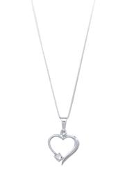 Liali Jewellery 18K White Gold Heart Diamond Pendant for Women, Silver
