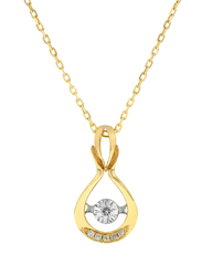 Liali Jewellery 18K Yellow Gold Dancing Diamond Pendant for Women, 0.04 Carat Look, Gold