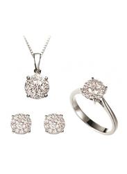 Liali Jewellery Mirage 18K White Gold Jewellery Set for Women, 1.81 Carat Look, Silver