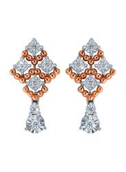 Liali Jewellery Joie De Vivre 18K Rose/White Gold Drop Earrings for Women with 0.16ct Diamond Stone, Rose Gold/White