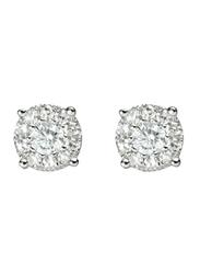 Liali Jewellery Mirage Classic 18K White Gold Stud Earrings for Women with 18 Diamond, 0.75 Carat Look, Silver
