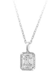 Liali Jewellery Emerald Cut 18K White Gold Diamond Pendant for Women, 0.5 Carat Look, Silver
