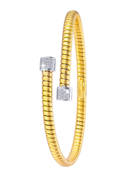 Liali Jewellery Tessitore 18K Yellow/White Gold Bangle for Women with 0.15ct Diamond Stone, Yellow