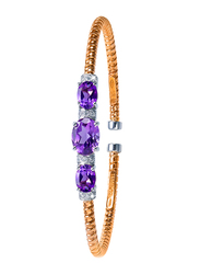 Liali Jewellery Tessitore 18K White/Rose Gold Bangle for Women with 0.17ct Diamond and 3.07ct Amethyst Stone, Rose Gold