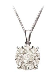 Liali Jewellery Mirage Classic 18K White Gold Pendant for Women, 1 Carat Look, Silver