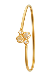 Liali Jewellery 18K Yellow Gold Charming Bangle for Women with 0.50ct Diamond Stone, Yellow