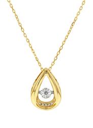 Liali Jewellery 18K Yellow Gold Dancing Diamond Pendant for Women, 0.046 Carat Look, Gold