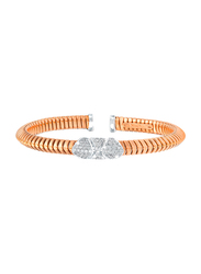 Liali Jewellery Tessitore 18K White/Rose Gold Bangle for Women with 0.65ct Diamond Stone, Rose Gold