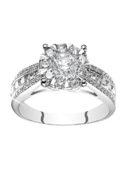 Liali Jewellery Mirage Taper Band 18K White Gold Engagement Ring for Women with 68 Diamond, 1 Carat Look, Silver, US 7