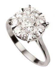 Liali Jewellery Mirage Classic 18K White Gold Engagement Ring for Women with 12 Diamond, 1.5 Carat Look, Silver, US 7