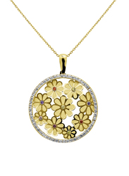 Liali Jewellery Regalo 18K Yellow Gold Necklace for Women with Zircon Stone Floral Pendant, Yellow