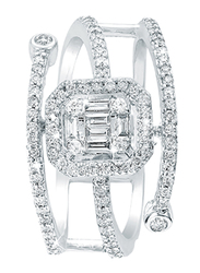 Liali Jewellery Emerald Cut 18K White Gold Two Line Fashion Ring for Women with 0.51ct Diamond Stone, White, US 7