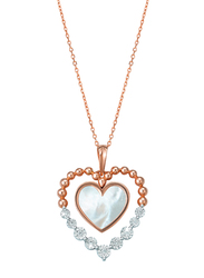 Liali Jewellery 18K Rose Gold Necklace for Women with Mother of Pearl and 0.08ct Diamond Stone Heart Shape Pendant, Rose Gold/White