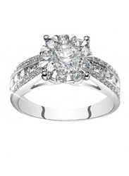 Liali Jewellery Mirage Taper Band 18K White Gold Engagement Ring for Women with 59 Diamond, 5 Carat Look, Silver, US 7