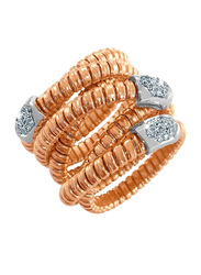 Liali Jewellery Tessitore 18K Rose Gold Fashion Ring for Women with 21 Diamond, Rose Gold, US 7