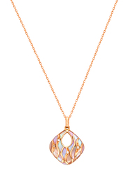 Liali Jewellery Claudia Romano 18K Rose Gold Necklace for Women with 6.2ct Mother of Pearl and 0.01ct Diamond Stone Pendant, Rose Gold