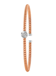 Liali Jewellery Tessitore 18K Rose Gold Bangle for Women with 9 Diamond, Rose Gold