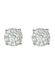 Liali Jewellery Mirage Classic 18K White Gold Stud Earrings for Women with 18 Diamond, 1.5 Carat Look, Silver