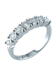Liali Jewellery Half Eternity 18K White Gold Engagement Ring for Women with 7 Diamond, Silver, US 7