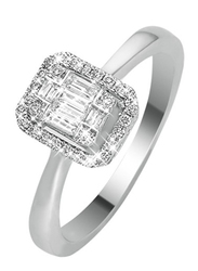 Liali Jewellery Emerald Cut 18K White Gold Engagement Ring for Women with 40 Diamond, 2 Carat Look, Silver, US 7