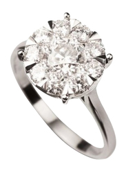 Liali Jewellery Mirage Classic 18K White Gold Engagement Ring for Women with 9 Diamond, 1 Carat Look, Silver, US 7