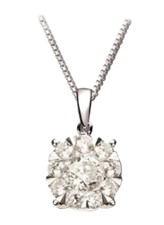 Liali Jewellery Mirage Classic 18K White Gold Pendant for Women, 1.5 Carat Look, Silver