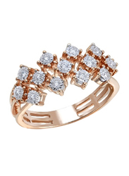 Liali Jewellery Joie de Vivre 18K Rose Gold Engagement Ring for Women with 13 Diamond, Rose Gold, US 7