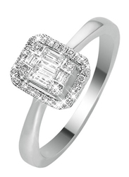 Liali Jewellery Emerald Cut 18K White Gold Engagement Ring for Women with 36 Diamond, 0.5 Carat Look, Silver, US 7