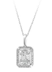 Liali Jewellery Emerald Cut 18K White Gold Diamond Pendant for Women, 1 Carat Look, Silver