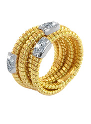 Liali Jewellery Tessitore 18K Yellow Gold Fashion Ring for Women with 21 Diamond, Gold, US 7