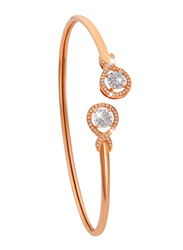 Liali Jewellery 18K Rose Gold Charming Bangle for Women with 0.18ct Diamond Stone, Rose Gold