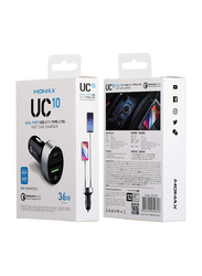 Momax UC10 Fast Car Charger, Dual Port USB with Type-C Power Deliver Plus QC 3.0, Black