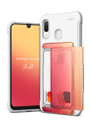 VRS Design Samsung Galaxy A30 Damda Glide Shield Semi Automatic Card Wallet Mobile Phone Case Cover, White/Yellow/Peach