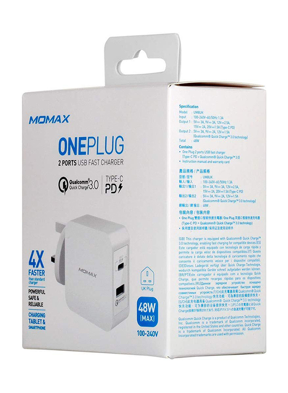Momax UM8 UK 48W Fast Wall Charger, One Plug 2 Ports USB-C Power Deliver, QC 3.0 USB Adapter, White