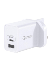 Momax UM13 UK 18W Fast Wall Charger, One Plug 2 Ports USB-C Power Deliver, QC 3.0 USB Adapter, White
