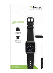 Evutec Northill Series Watch Band for Apple Watch 44mm/42mm Series 4/3/2/1, Black