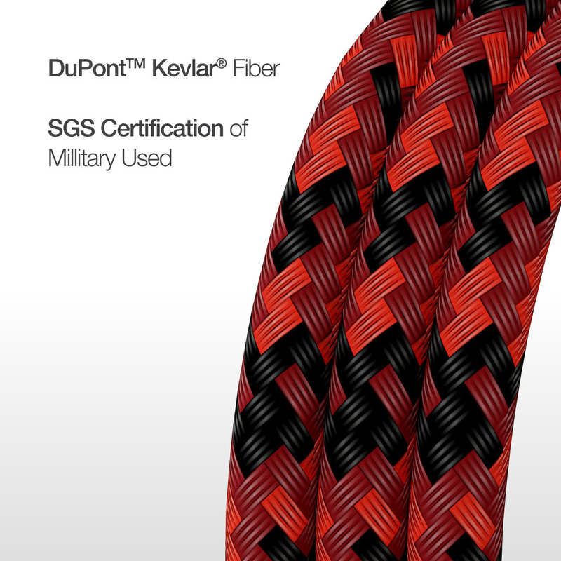Amazing Thing 1.2-Meter Supreme Link Strong DuPont Kevlar Lightning Cable, Fast Charge 3.0A USB Type-C Male to Lightning for Apple iPhone/iPad/iPod, Red