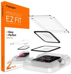 Spigen Apple Watch 40mm (Series 5 / 4) Tempered Glass Screen Protector Pro Flex EZ Fit (2-Pack) with Auto Align technology tray